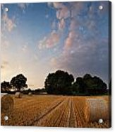 Stunning Summer Landscape Of Hay Bales In Field At Sunset Acrylic Print