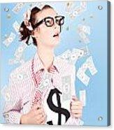 Successful Female Business Superhero Winning Money Acrylic Print
