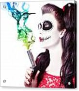 Sugar Skull Girl Blowing On Smoking Gun Acrylic Print