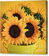 Sunflowers In Vase Acrylic Print by Elena Elisseeva