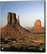 Sunset Light With Mittens And Desert In Monument Valley Arizona  Acrylic Print