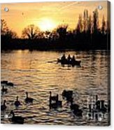 Sunset On The Thames At Walton Acrylic Print