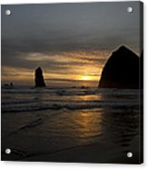 Sunset Over Haystack Rock In Cannon Beach Acrylic Print