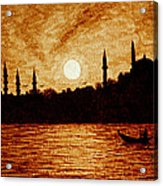 Sunset Over Istanbul Original Coffee Painting Acrylic Print