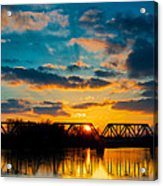 Sunset Railroad Bridge Acrylic Print