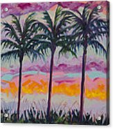 Sunset Trio Acrylic Print by Eve  Wheeler
