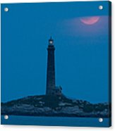 Super Moon Over Thacher Twin Lights Acrylic Print