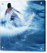 Surfer Carving On Splashing Wave, Interesting Perspective And Blur Acrylic Print