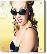 Surprised Pinup Girl On Tropical Beach Background Acrylic Print