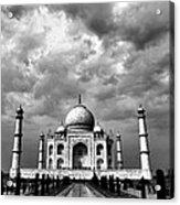 Taj Mahal India In Black And White Acrylic Print