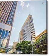 Tall Highrise Buildings In Uptown Charlotte Near Blumenthal Perf Acrylic Print
