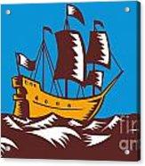 Tall Sailing Ship Retro Woodcut Acrylic Print