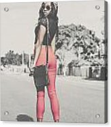 Tall Young Black Woman Modelling Handbag Accessory Acrylic Print