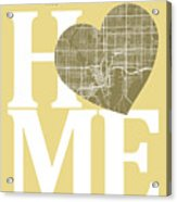 Tampa Street Map Home Heart - Tampa Florida Road Map In A Heart Acrylic Print