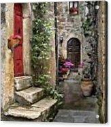 Tarquinia Red Door Impasto Acrylic Print