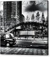 Taxi At Canary Wharf Acrylic Print