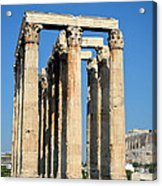 Temple Of Olympian Zeus And Acropolis In Athens Acrylic Print