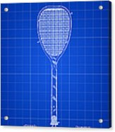 Tennis Racket Patent 1887 - Blue Acrylic Print