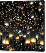 The Floating Lanterns In Thailand. Acrylic Print