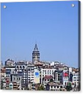 The Galata Tower And Istanbul City Skyline In Turkey   Acrylic Print