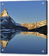 The Matterhorn And Riffelsee Lake Acrylic Print