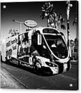 the sdx strip downtown express bendy bus on the Las Vegas strip Nevada USA Acrylic Print