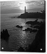 The Sun Is Setting Behind The Pigeon Point Light Station Near Ano Nuevo Acrylic Print
