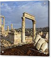 The Temple Of Hercules And Sculpture Of A Hand In The Citadel Amman Jordan Acrylic Print by Robert Preston