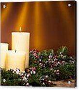 Three Candles In An Advent Flower Arrangement Acrylic Print