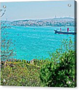 Topkapi Palace Wall Along The Bosporus In Istanbul-turkey  Acrylic Print