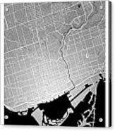 Toronto Street Map - Toronto Canada Road Map Art On Colored Back Acrylic Print