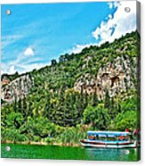 Tourboat Stops By Ancient Tombs In Daylan-turkey  Acrylic Print