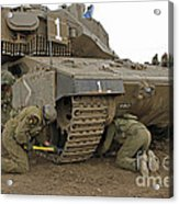 Track Replacement On A Israel Defense Acrylic Print by Ofer Zidon