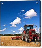 Tractor In Plowed Field Acrylic Print