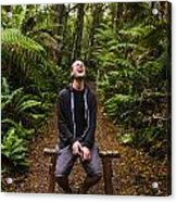 Travel Man Laughing In Tasmania Rainforest Acrylic Print