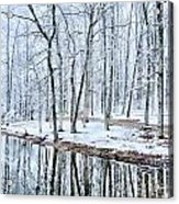 Tree Line Reflections In Lake During Winter Snow Storm Acrylic Print