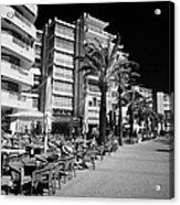 Tree Lined Seafront Promenade With Restaurants And Apartment Blocks Salou Catalonia Spain Acrylic Print