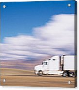 Truck On The Road, Interstate 70, Green Acrylic Print