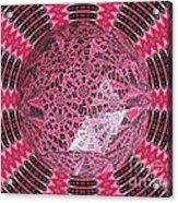 Tulips Kaleidoscope Under Polyhedron Glass Acrylic Print
