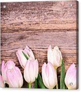 Tulips Over Old Wood Acrylic Print