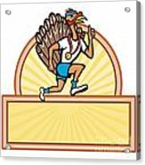 Turkey Run Runner Side Cartoon Isolated Acrylic Print by Aloysius Patrimonio