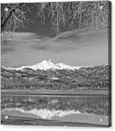 Twin Peaks Longs And Meeker Lake Reflection Bw Acrylic Print