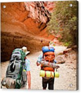 Two Friends Hiking Through The Grand Acrylic Print