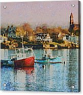 Two Lobster Boats On Marblehead Harbor With A Red Sky Acrylic Print