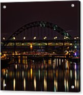 Tyne Bridge At Night Acrylic Print