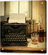 Typewriter And Whiskey Acrylic Print