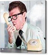 Unhappy Nerd Businessman Yelling Down Retro Phone Acrylic Print