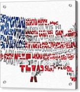 United States Typographic Map Flag Acrylic Print