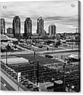 urban farm on unused lot at concord pacific place at false creek Vancouver BC Canada Acrylic Print by Joe Fox