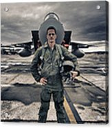 U.s. Air Force Pilot Standing In Front Acrylic Print by Terry Moore